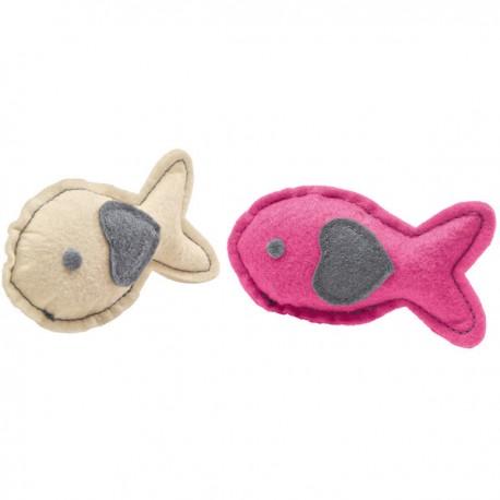Jouets peluches By Laura poissons crème et rose