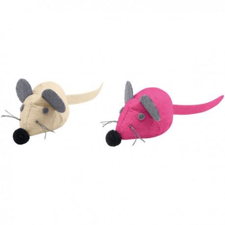 Jouets peluches By Laura souris crème et rose