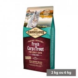 Croquettes Chat adulte Stérilisé (carpe et truite) sans céréales Carnilove Fresh