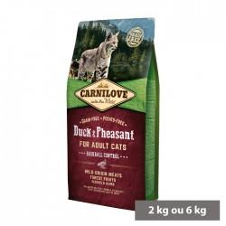 Croquettes Chat adulte Boules de Poils (canard et faisan) sans céréales Carnilove