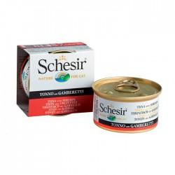 Pâtée Schésir chats-Thon et crevettes en gelée boîte