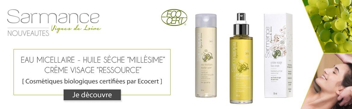 Eau micellaire - Huile sèche Millésime - Crème visage Ressource - cosmétique bio Sarmance