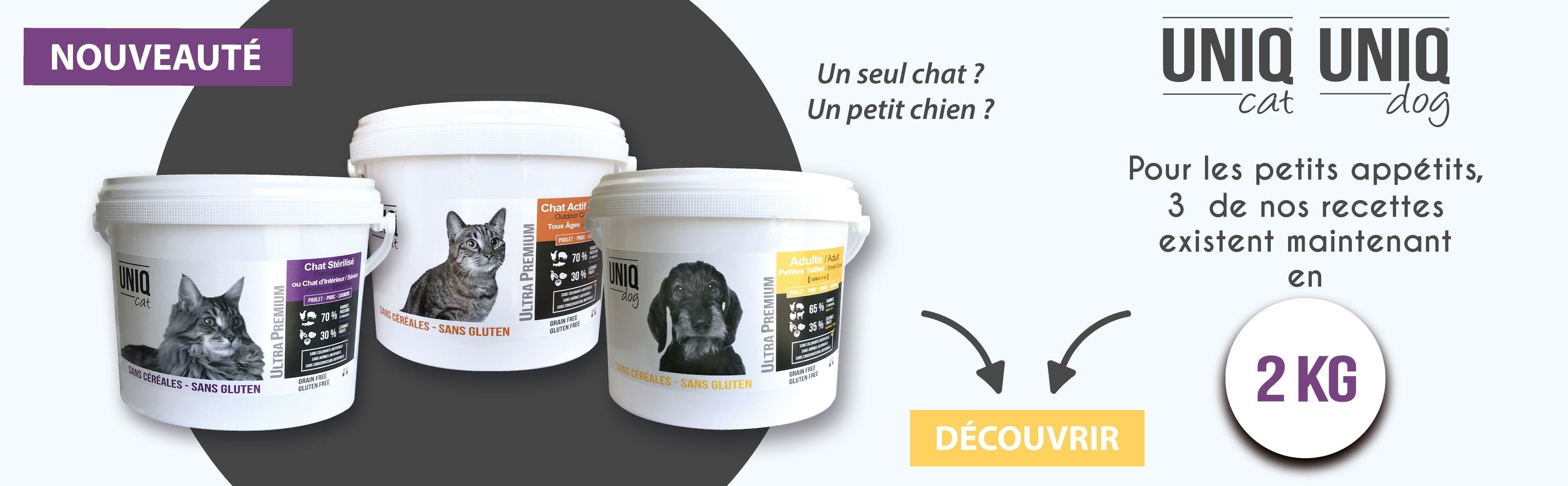 Croquettes pour chats UNIQ Cat et chiens petites tailles UNIQ Dog en 2 kg